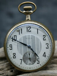 51 Mm Elgin Gold Plated 16s Grade 291 Pocket Watch For Repair 28125246 D323