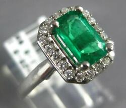 Wide 1.09ct Diamond And Aaa Emerald 14kt White Gold 3d Emerald Cut Engagement Ring