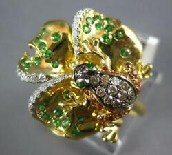 .61ct White And Mocha Diamond And Aaa Multi Gem 18kt Yellow Gold Happy Frog Fun Ring