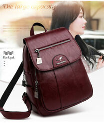 Leather Backpacks High Quality Vintage School Bags Hot Luxury Ladies Casual Bags $35.99