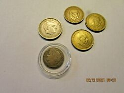 1887 Republique Francaise 50 Centimes And 4 Spain Coins 1966 And 1957 See Photo's