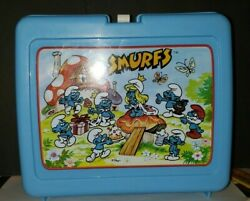 Vintage Smurfs Lunch Box By Thermos 1985 Blue Plastic Thermos, No Cup