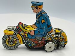 Rare Vintage Marx Ck165 Tin Litho Wind-up Police Motorcycle W/ Rider 4.5 Works