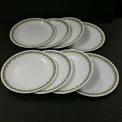 Nice Set Of 8 Corelle Spring Blossom Green Crazy Daisy Dinner Plates Dishes 10
