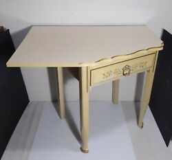 Vintage Mid Century French Provincial Cream Formica Corner Desk Table W Drawer