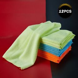 Microfiber Cleaning Cloth 12pcs Wash Dry Clean Polish Duster Kitchen Dirt Clean