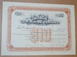The Hecla Gold Mining Company 1894 Antique Stock Certificate