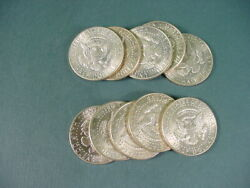 Lot Of 10 Kennedy 40 Silver Half Dollars 5 Face Value Mixed Date Vintage Jfk