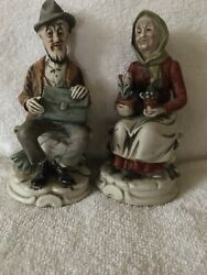 Vintage Figurines of Old Woman and Man