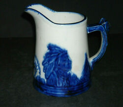 Exc. Rare 2 One Pint Blue-rimmed Blue And White Old Sleepy Eye Pitcher Illinois