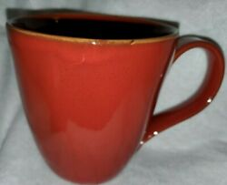 Crate And And Barrel Carmen Rustic Set Of 4 Red Coffee Mugs Made In Italy
