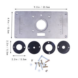 Aluminum Router Table Insert Plate W/ 4 Rings Screws For Woodworking Benches Us
