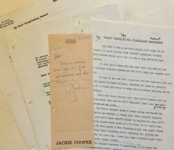 1989jackie Cooper Signed Note Approving Article By Leading Hollywood Reporter