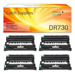4pk Dr730 Drum Compatible For Brother Hl-l2350dw L2370dw Mfc-l2710dw Lot Black