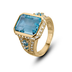 22k Solid Yellow Gold Natural Rare Blue Topaz And Diamond Gem Stone Men's Ring