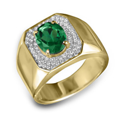 22k Solid Yellow Gold Natural Emerald And White Topaz Gem Stone Menand039s Ring