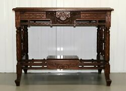 Late 19th Century Continental Carved Walnut Writing Table On Leather Inset Top