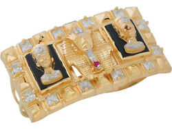10k Or 14k Two-tone Gold King Tut Queen Nefertiti Onyx And Cz Two Finger Ring