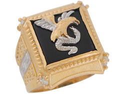 10k Or 14k Two-tone Gold Black Onyx And Cz Eagle And Snake Mens Greek Key Ring