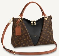 Authentic Louis Vuitton Monogram And Leather V Tote Mm Sold Out Black/caramelandnbsp