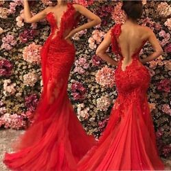 New Red Sheer See Through Backless Mermaid Prom Dresses Lace Tulle One Shoulder