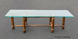 Vintage Mcguire Bamboo Glass Top Coffee Table Cocktail Table W Rawhide Straps