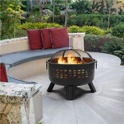 25'' Outdoor Fire Pit Round Iron Firepit Wood Burning For Backyard Patio Garden