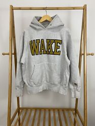 Vtg Wake Forest University Demon Deacons Embroidered Thick Weave Hoodie M Usa