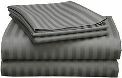 Rajlinen Top Selling Bed-sheet-set White Stripe Queen 100 Cotton Sheets Andndash Extra