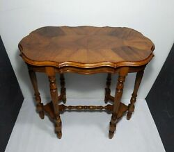 Antique Victorian Neoclassical 6 Leg Parlor Sofa Table Inlay Wood Art Deco Style