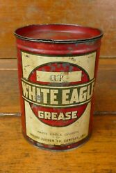 Vintage White Eagle Grease Socony Vacuum Oil Co Metal 5lb Pound Can Gas Oil Sign