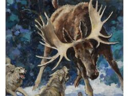 Early 20th Century Wildlife Oil Painting By Maurice L. Bower