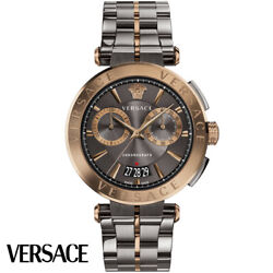 Versace Ve1d00619 Aion Chronograph Grey Bronze Stainless Steel Men's Watch New