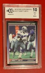 Nfl Emmitt Smith 90 Score Supp Trading Rookie Rc Card 101t Bccg Graded 10 Mint