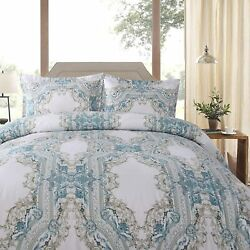 Shatex Queen Comforter All Season Comforter Blue Floral Pattern Printed Bedding