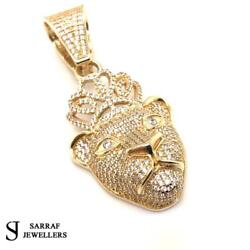 Tiger Head Queen Pendant 375 9ct Yellow Gold Shiny Bling Pendant New