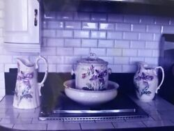 Antique Four Piece Washing Bowl 2 Pitchers A Lg. Slop Pot And Toothbrush/razor