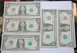2009 1- One Dollar Star Note/bill- Lot Of 5 - Lot 8a