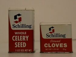 Vintage Schilling Celery Seed 1.5 Oz And Cloves Metal Spice Tins Mccormick.usa..