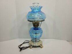 Vintage Blue Rose Carnival Glass Gone With The Wind Victorian Electric Lamp