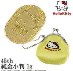 Limited Rare Hello Kitty 45th Anniversary Pure Gold Good Luck Oval 0326ey