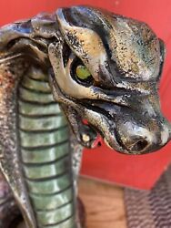Amazing Vintage Chalkware Coiled Cobra Snake Statue 16 Painted 50s 60s 70s Mcm