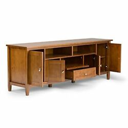 Simplihome Warm Shaker Solid Wood Universal Tv Media Stand 72 Inch Wide Farmh...