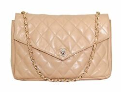 CHANEL Beige Leather Quilted Small Flap Gold CC Shoulder Bag Crossbody Purse $1450.00