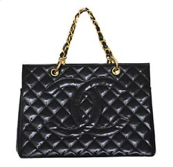CHANEL Black Quilted Patent Leather Grand Shopping Tote Bag Purse $1250.00