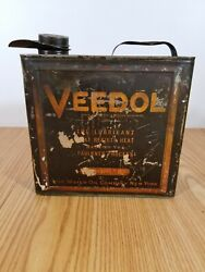 Vintage Veedol Motor Oil Can Gallon Graphic 4 Quart Tidewater Oil Company Gas