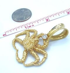 Huge Solid 14k Yellow Gold 38g Diamond 0.5 Si2 Crab Cancer Zodiac Sign Pendant