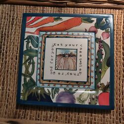 Blue Sky Laura Kelly 18 Carrots Eat Your Vegetables Square Wall Hanging Plate