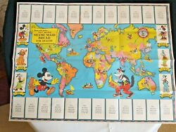 Vintage 1930and039s Disney Mickey Mouse Globe Trotters Map 12 Cards Pin Envelope