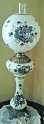 Antique Rare Set Of Two Gone W/the Wind Style Lamps,w/hand Painted Violets, See